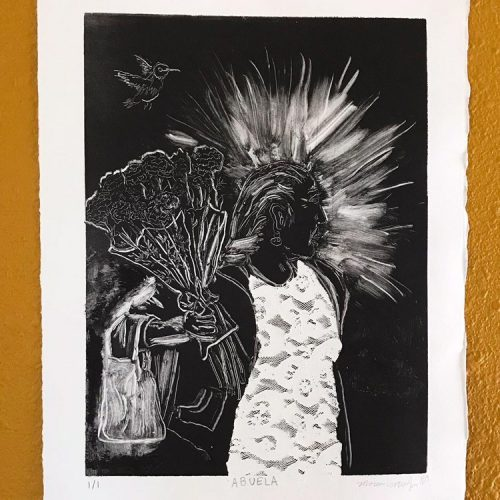 Black and white print of an elderly woman holding flowers in her hand with a hummingbird