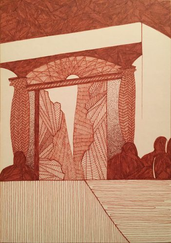 In sepia pen ink on paper: A gate or an image resembling a doorway exists and beyond it, an exotic, abstracted landscape. The figures live around this frame but are turned away as if the natural world on the other side is of no consequence.