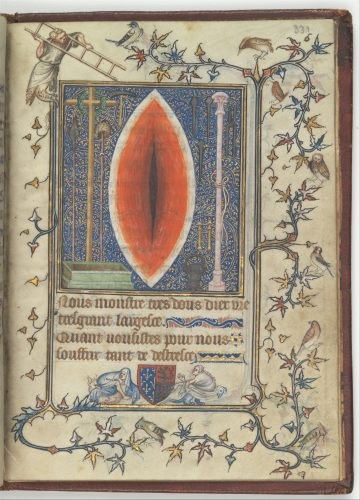 Illuminated manuscript page with a red, almond-shaped wound in the center, flanked by a crucifix and scepter on the sides and Latin writing at the bottom
