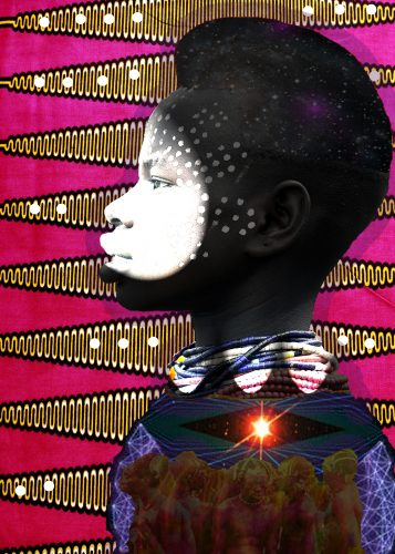 """Nkisi"" – a dark-skinned black boy is featured in profile facing left, his neck and shoulder are visible as he is adorned with multi-colored beads and galactic armor; on his lips, nose, and around his eyes is a dense white powder that breaks into a dotted pattern that extends up his forehead, over his cheeks, and towards his ears; the background behind him featured bright pink and yellow triangles."