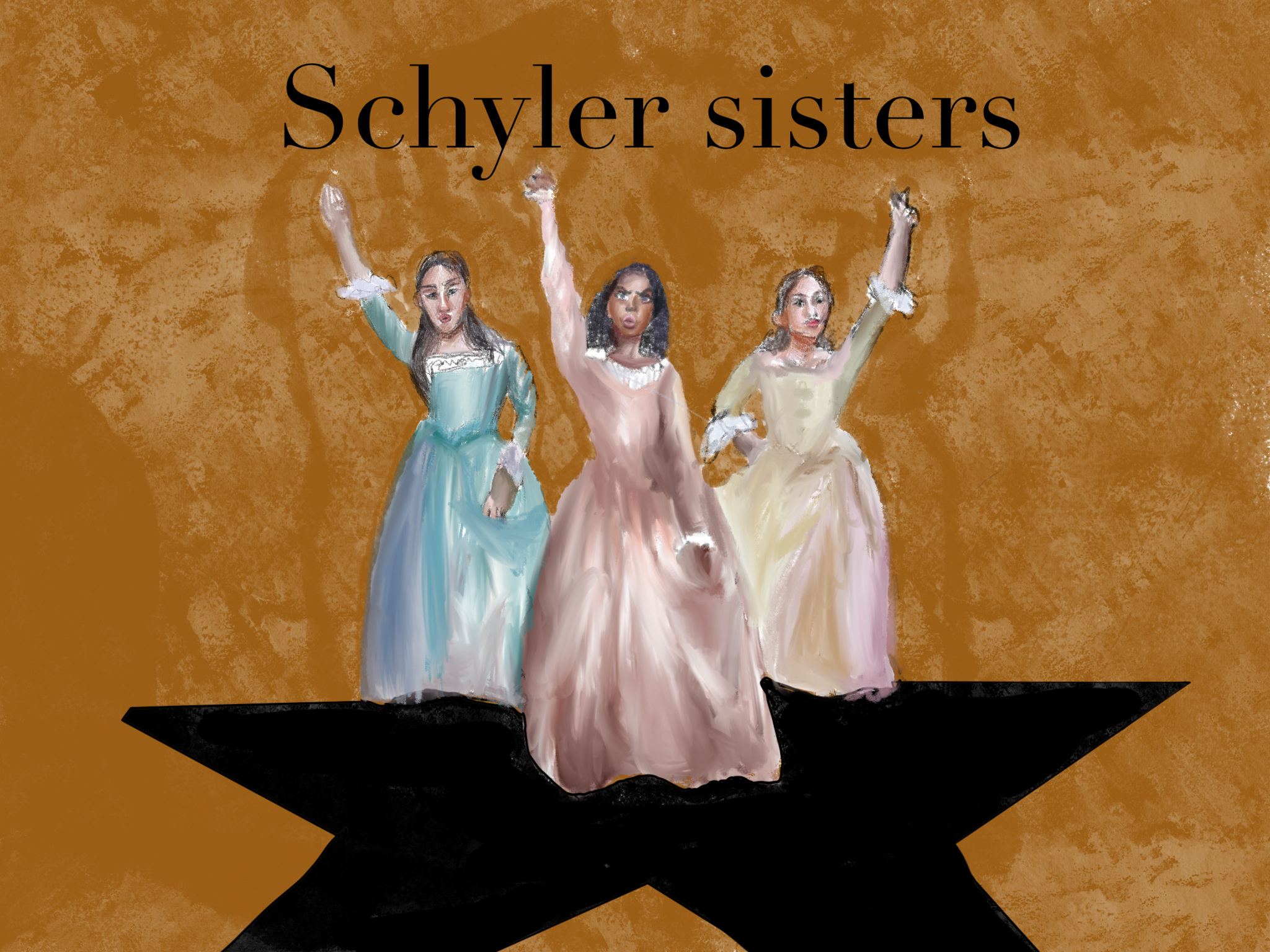 Artist interpretation of Schyler Sisters with arms raised in the air