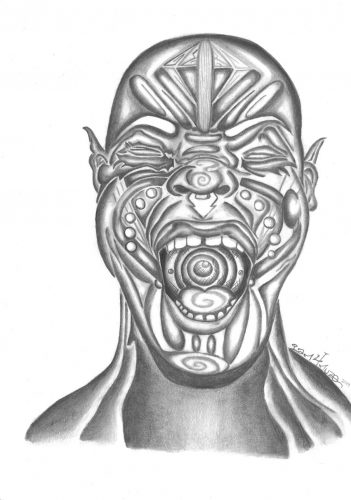 Black and white drawing of a Black man shouting, hollering, yelling, singing; his face and mouth are full of patterns, notably a trail of small circles falls down his cheeks, small triangles near the center of his forehead, and banding across the rest of his forehead and cheeks; his tongue is filled with a spiral, while the inside of his mouth is a pattern with concentric circles.