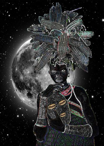 """Elevating Egun"" – a bright glowing moon sits in the middle of a starlit black sky; in the foreground a dark-skinned girl wears a bountiful hat of corn while holding a mask with eyes and lips of enlarged cowrie shells; she is adorned in a green tunic that wraps around her waist, a red multi-layered necklace draping her chest, and large wrist cuffs; she is facing the viewers her gaze brazenly meeting the audience head on."