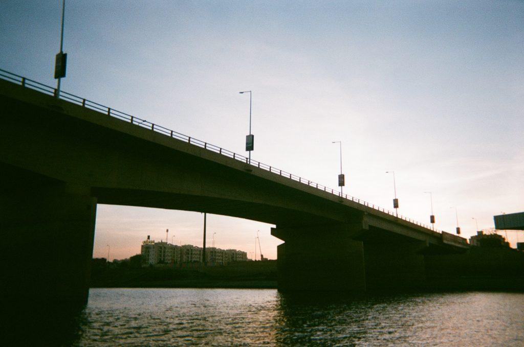 a concrete bridge stretches across the Nile in Khartoum, Sudan