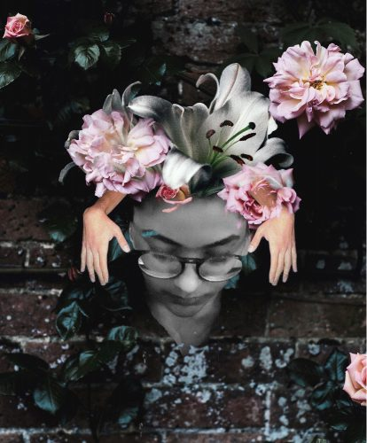 A black and white face, looking down with glasses, collaged over a brick wall. Pink and white flowers are placed on the figures head, with arms reaching out of the flowers and framing the face.