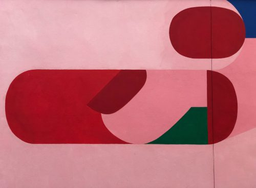 Abstract smooth geometric shapes in vibrant pink and maroon tones