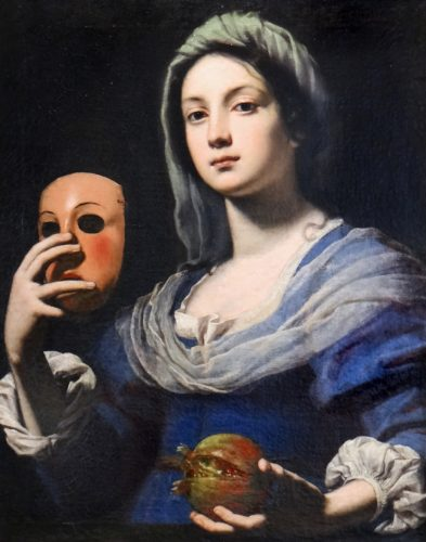 Woman with a mask, oil on canvas