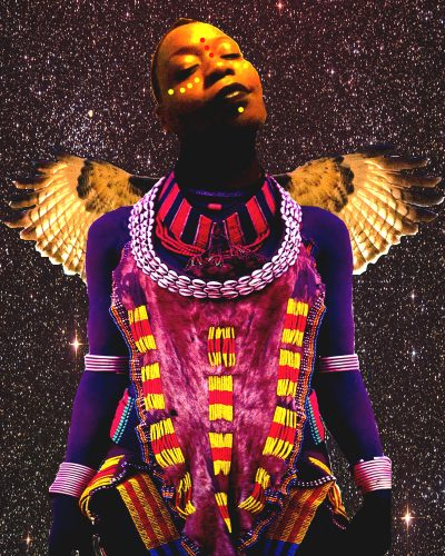"""God"" – a black woman is facing forward, with wings behind her. Her neck and body are adorned with beads. Her face has a dotted pattern beneath her right eye, on the bridge of her nose, and underneath her bottom lip."