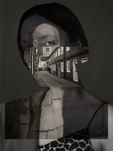 Collaged image of woman, mannequin, and street