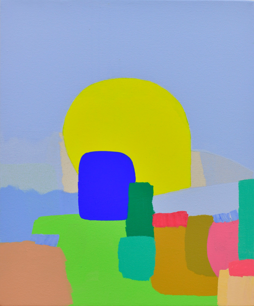 An abstract landscape of brightly colored shapes.