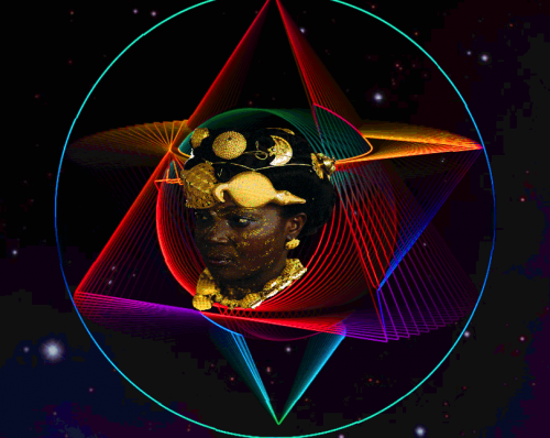 a Black woman faces the viewer at a three-quarter profile, her eyes and face turned the left of the frame; around her face is an assortment of geometric shapes: a concentric set of circles, isosceles triangles extending backwards to infinity as they fade from view, and a large clear circle, finally, golden circles wrap around her head like a halo; her face, hair, and neck are adorned with gold jewelry shaped like sacred object, including a moon, crocodile, planets, and more.