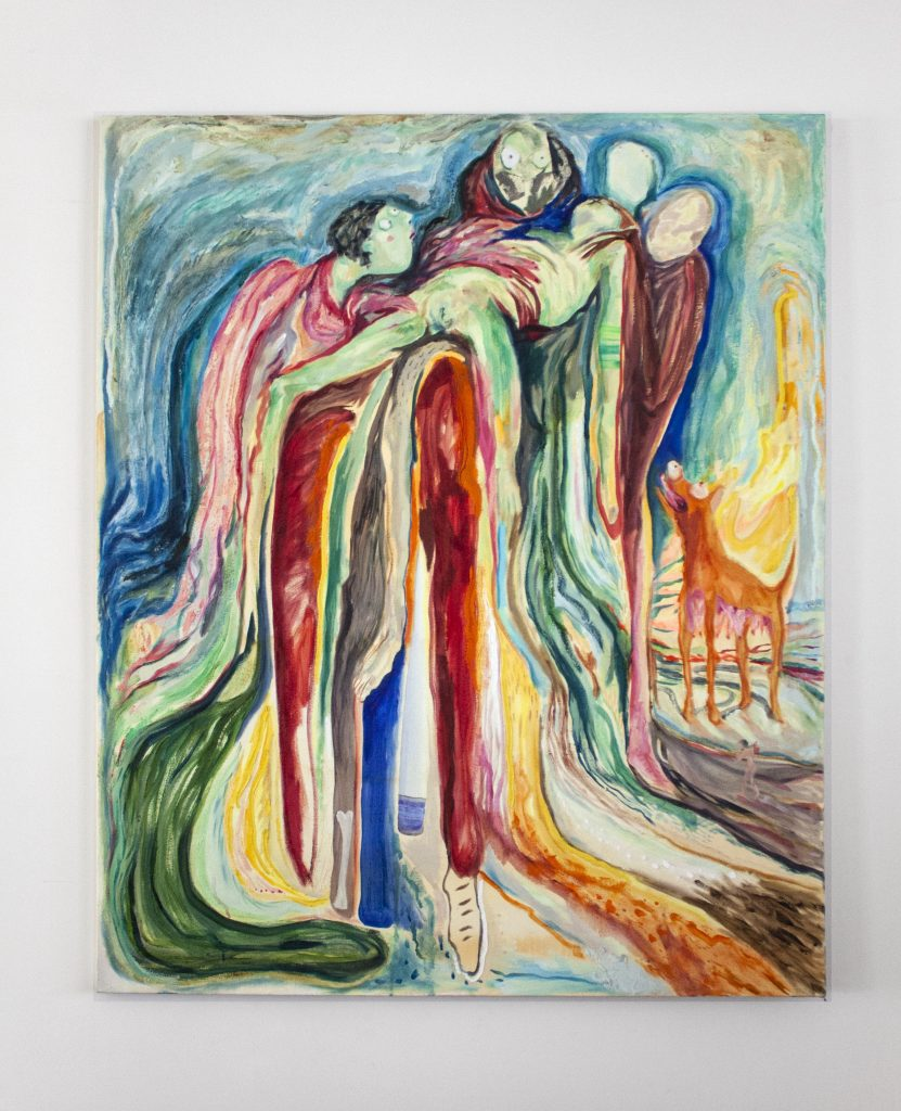 Painting of four abstract figures holding a female corpse, with a dog, against a melting sky