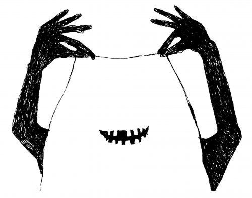two black hands hold a white sheet over their body through the sheet, an eerie toothy smile emerges.