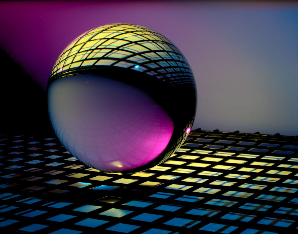 Abstract grid and orb
