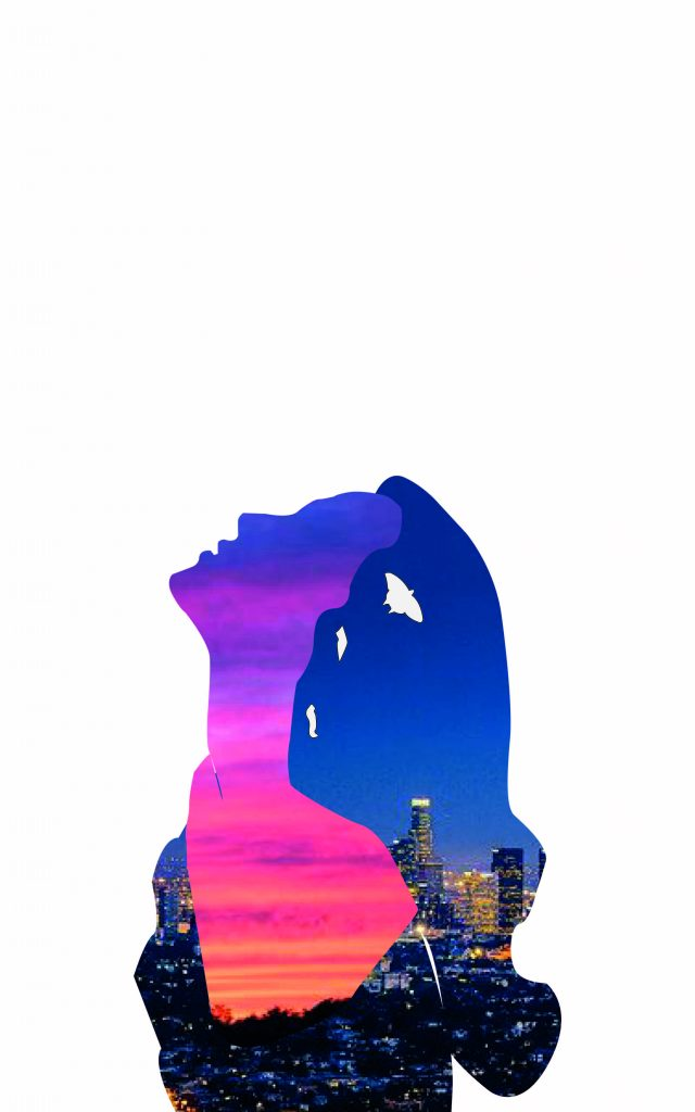 A woman throws her head back in bliss at her long-awaited acceptance of the new normal after lockdown. A symbolic chrysalid evolves into a butterfly, and her whole body is filled with the sunset over Downtown Los Angeles and its emblematic palm trees.