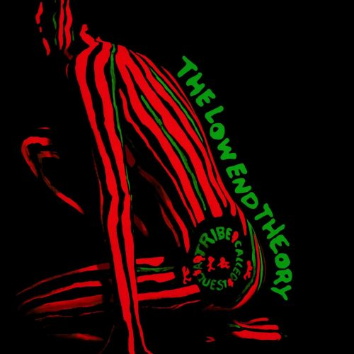Cover art for A Tribe Called Quest's album The Low End Theory with abstract kneeling person in red and green on black background