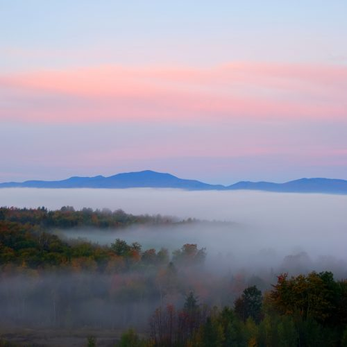 sunrise featuring mountains and treetops above the fog