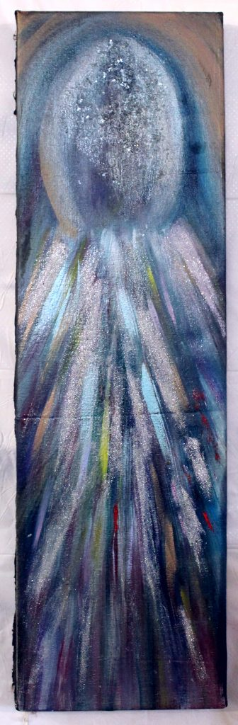 """""""Comet_Up""""-abstract multi-colored comet (colors of blue, silver, hints of red yellow and light purple)headed in upward direction"""