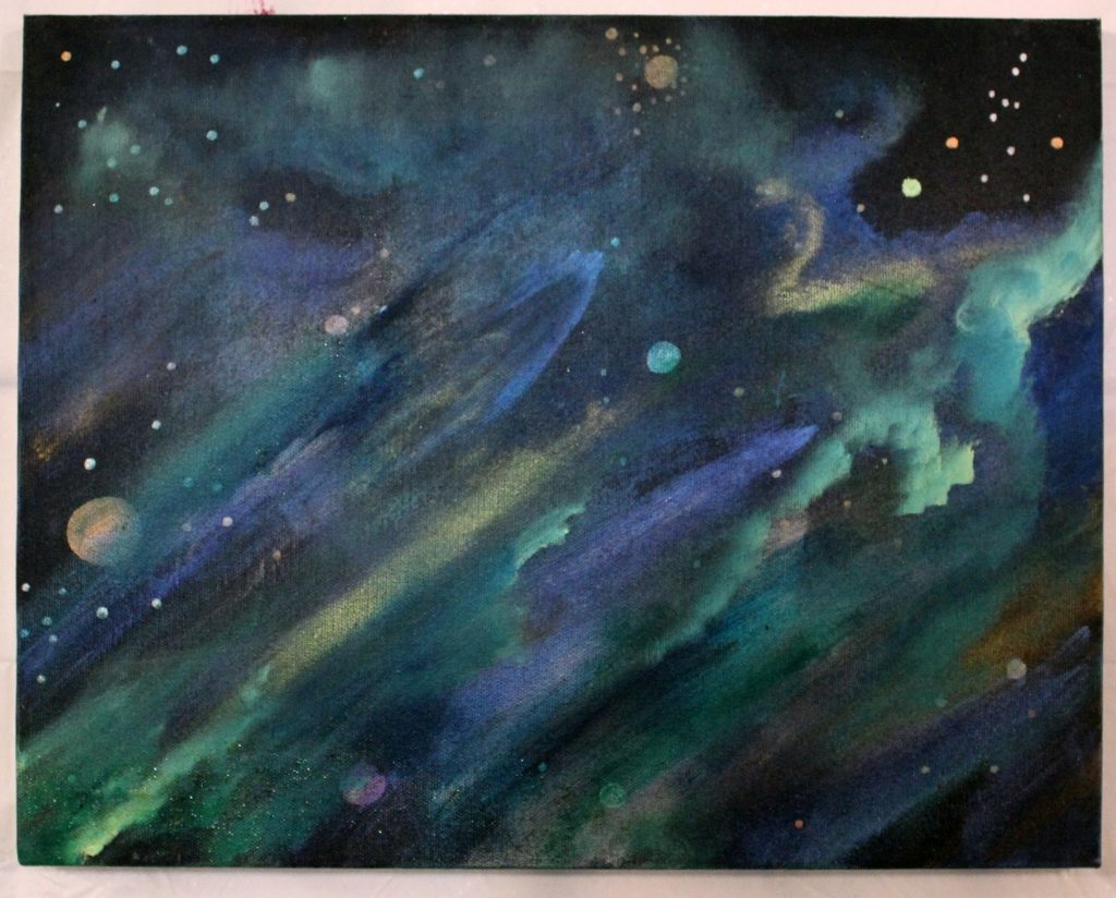 """""""Pseudo Constellation Nebulae9_12"""" -Abstract nebulae of green, blue and yellow color in Black space with some yellow and orange constellation and planets in the background"""
