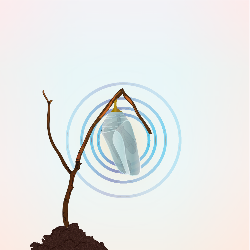 A digital illustration of a crystal cocoon hanging off a thin branch jutting out of the ground behind which blue rings of iridescence shine ou