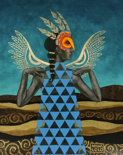 Painting of a feminine figure in a blue triangle-patterned dress standing frontally at the center of a landscape of tan and brown hills and a dark turquoise sky. Their head is in profile to the right with black hair falling over their chest. Their hands rest on their shoulders, with feathered gold wings outstretched behind them. They wear an orange and red owl mask over their eyes, from which four gold feathers point upward.
