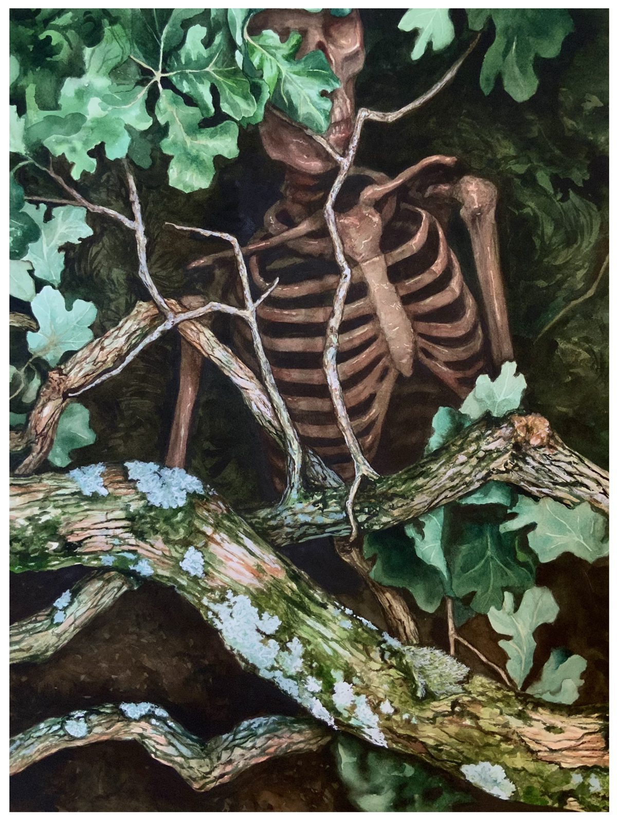 watercolor on paper of the figure of a skeleton submerged in gnarled branches of an oak tree and surrounded by bright green leaves