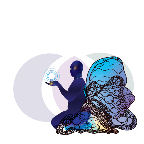A digital illustration in which at center is a human figure in blue looking at the viewer with a golden glow in their eyes, a set of blue spirals in the palm which is also lit in gold, and butterfly wings attached to the figure's back with linework and hues of blue, purple, and yellow.