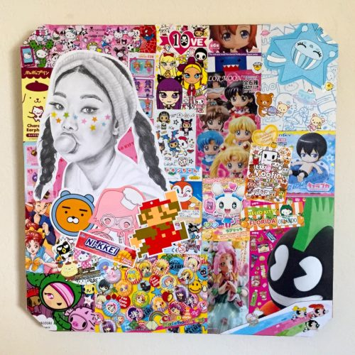 A colorful collage with a black and white drawing of a girl looking outward and blowing a bubble with gum.