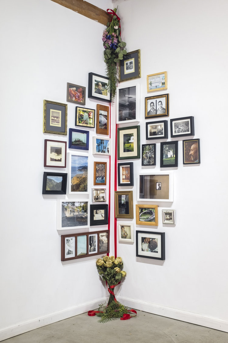 color photograph of installation by artist Savannah Wood featuring various framed images and flowers