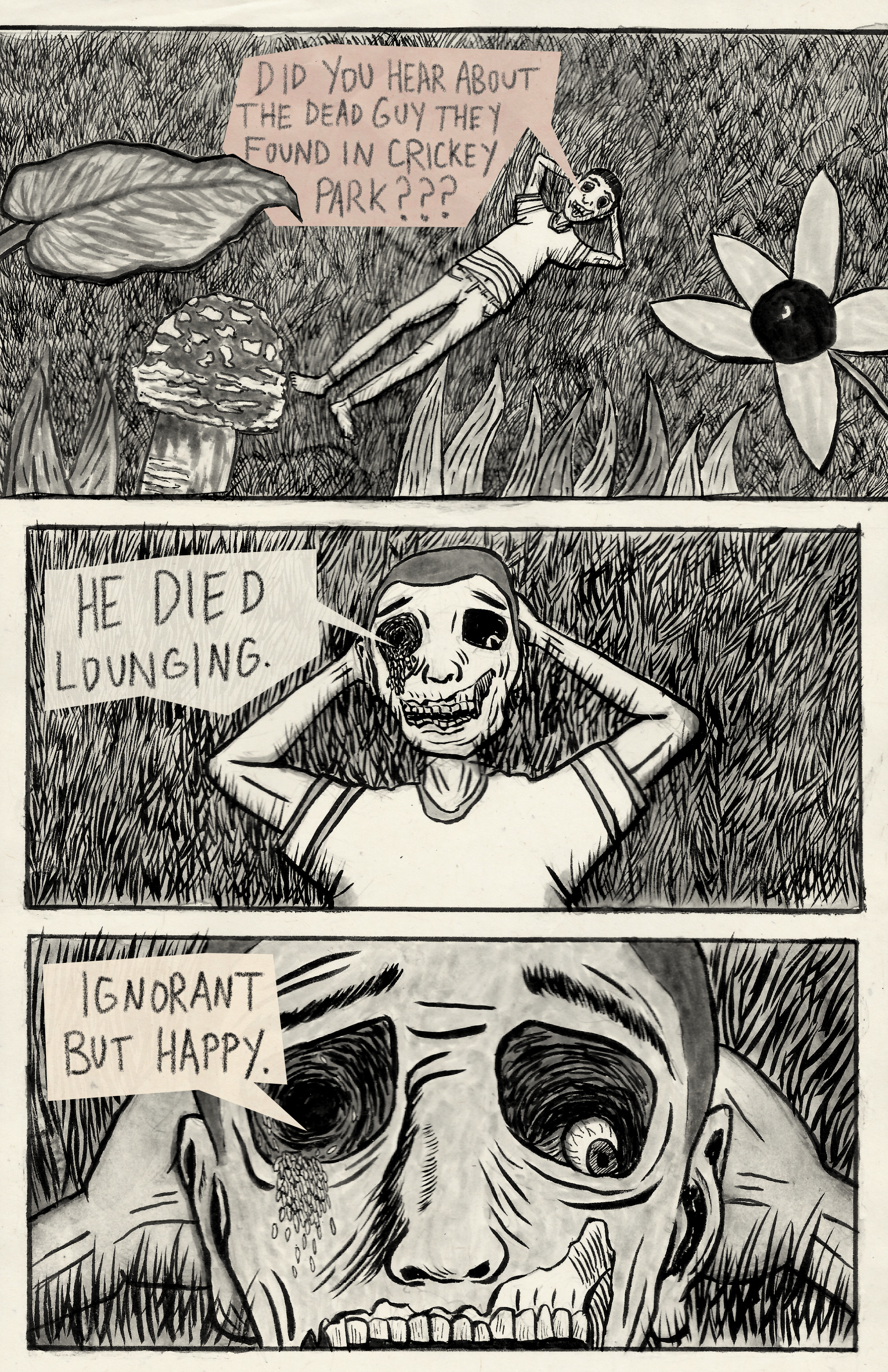 ink drawn comic of a prone person decaying in a park