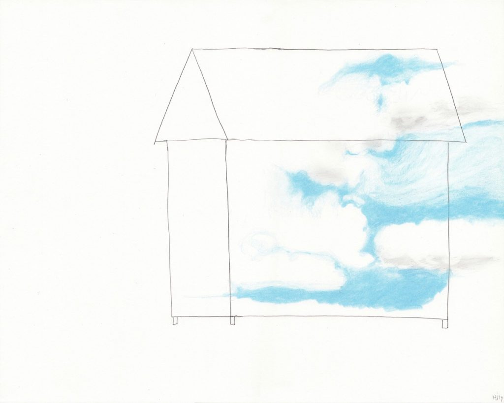 A drawing of a house with the sky inside