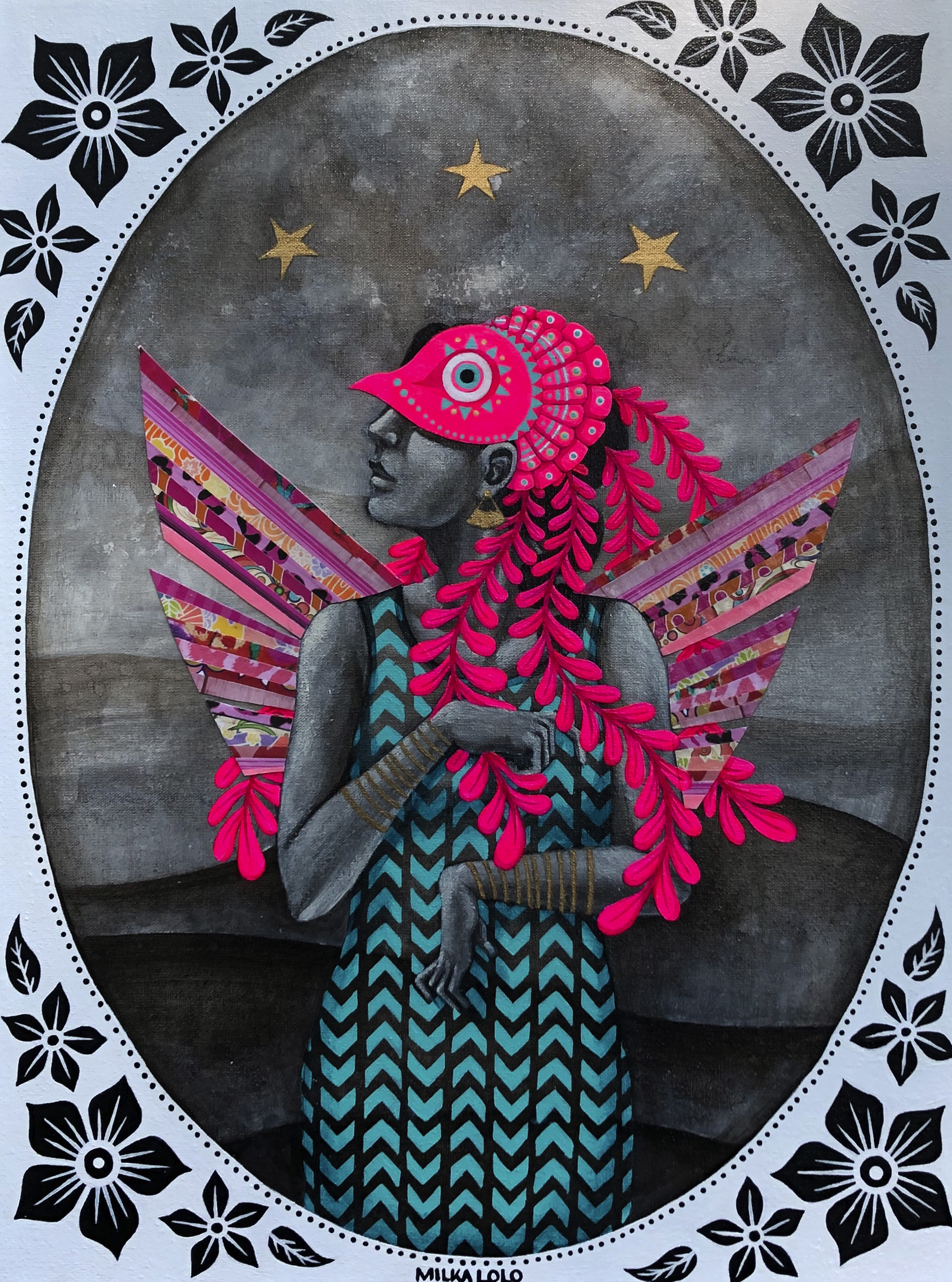 Painting of a feminine figure standing frontally, within an oval frame with three black flowers at each corner, and in front of grey hills with three gold stars in the sky above their head. They wear a turquoise and black chevron-patterned dress and a neon pink bird mask that covers the top of their face and head, with four long feathers hanging down across their chest and back. Their head is in profile to the left and their hands are held at angles in front of their chest and stomach. They have short, patterned pink wings.