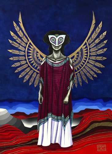 Painting of a feminine figure standing frontally in an abstracted red landscape with an expansive dark blue sky. The figure wears a wine-colored and white dress with turquoise trim, and a white owl mask with large turquoise eyes over the top half of their face. Large golden wings composed of feathers and geometric patterns flare behind them.