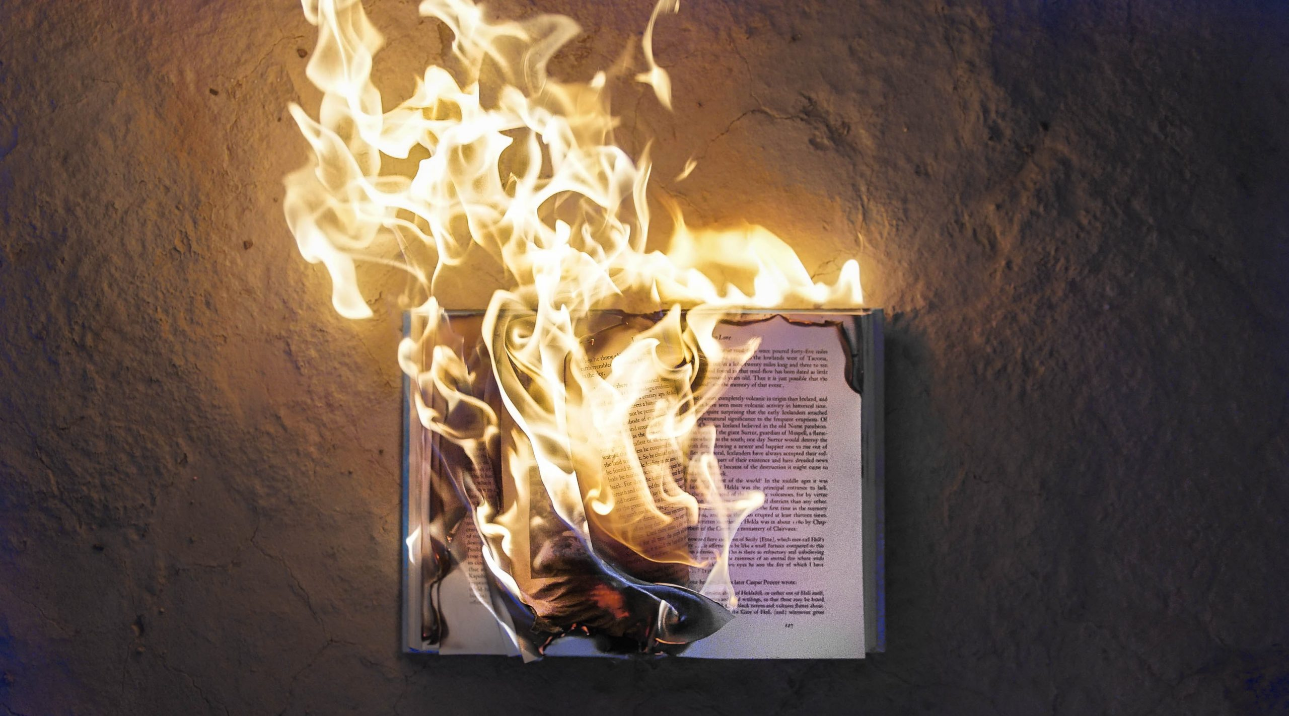 color photograph of an open book on fire