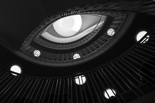 Eye in library staircase image